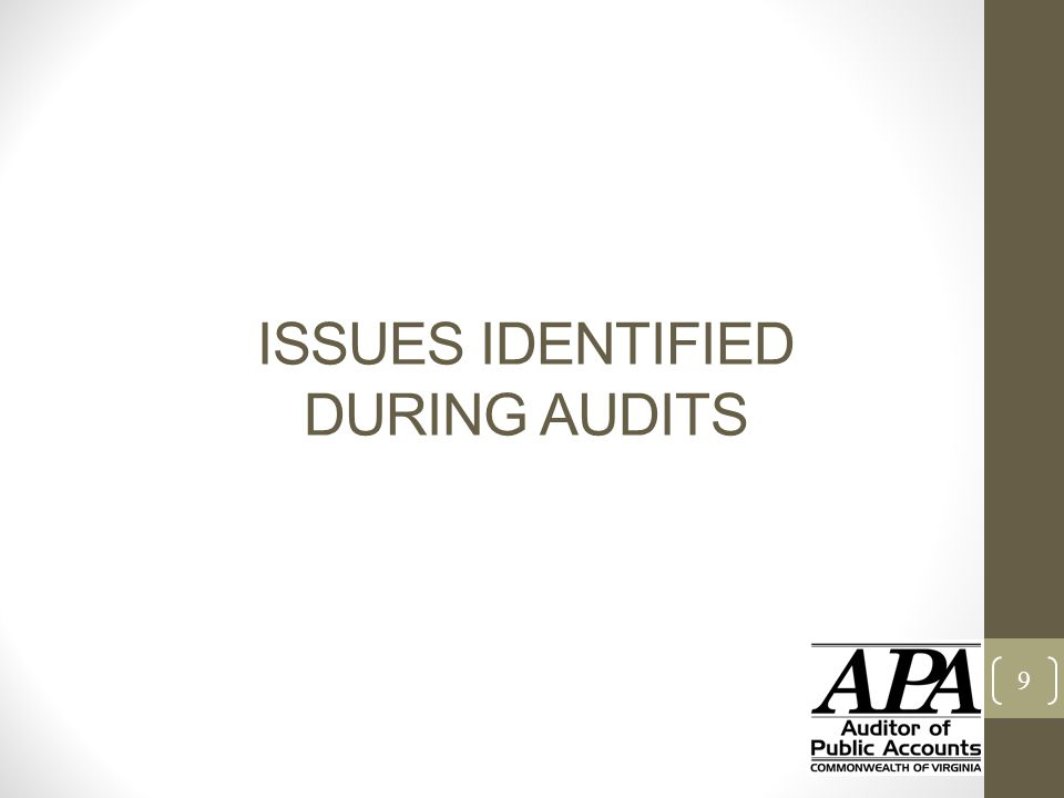 ISSUES IDENTIFIED DURING AUDITS 9
