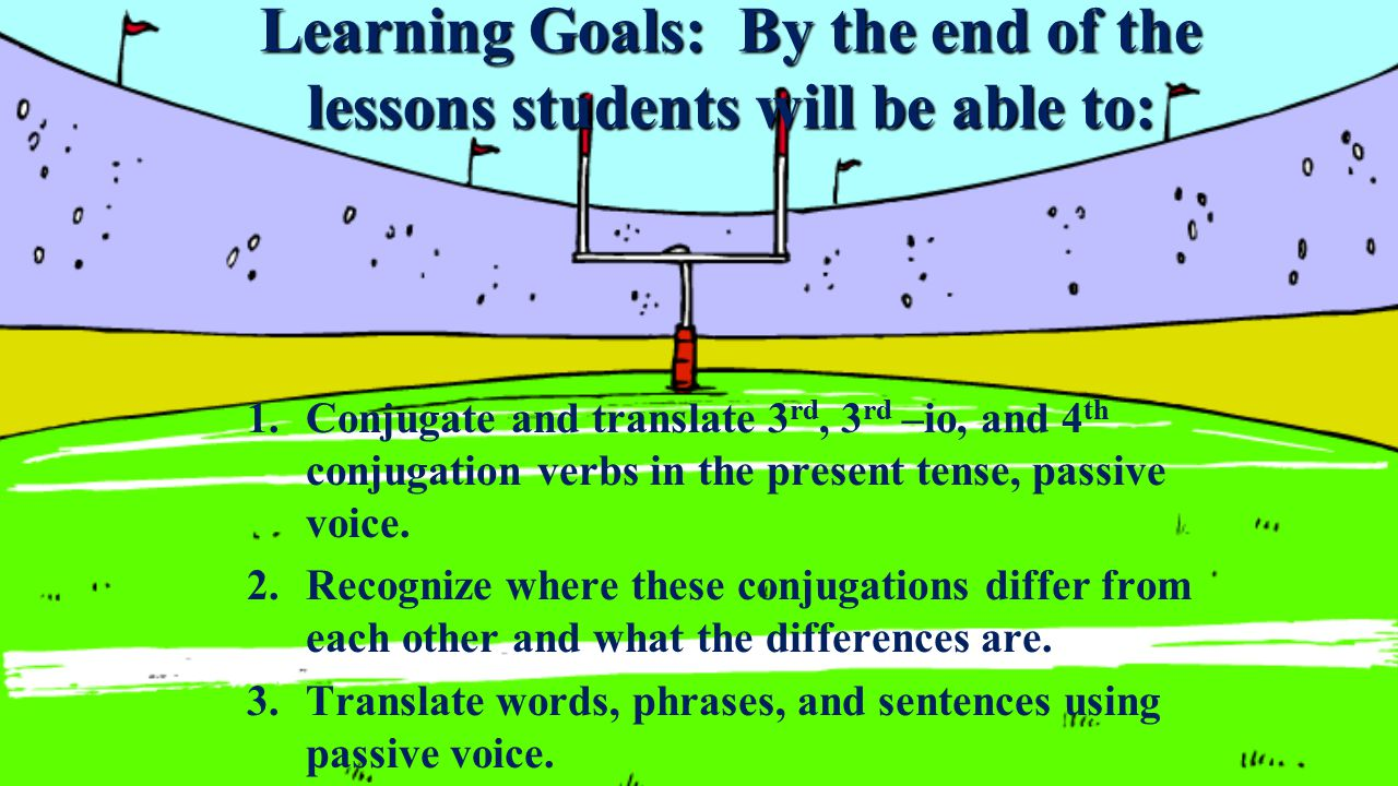 Learning Goals: By the end of the lessons students will be able to: 1.Conjugate and translate 3 rd, 3 rd –io, and 4 th conjugation verbs in the present tense, passive voice.