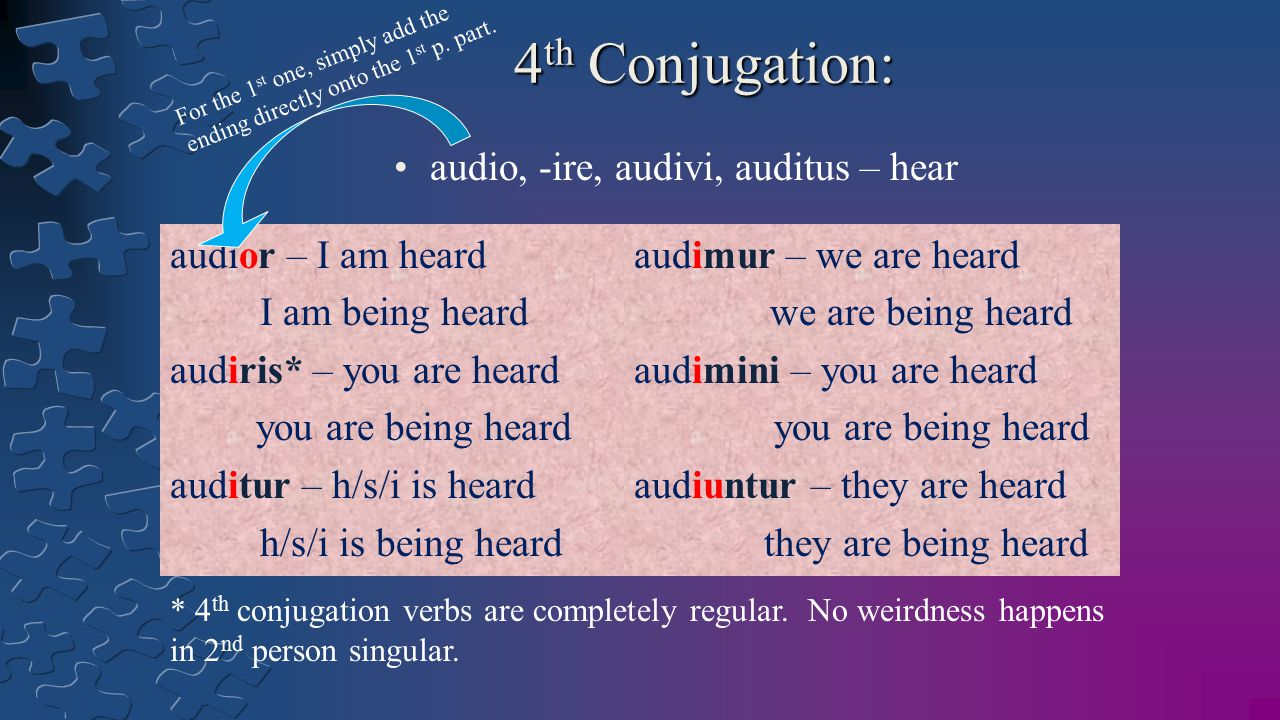 4 th Conjugation: audio, -ire, audivi, auditus – hear audior – I am heard I am being heard audiris* – you are heard you are being heard auditur – h/s/i is heard h/s/i is being heard audimur – we are heard we are being heard audimini – you are heard you are being heard audiuntur – they are heard they are being heard For the 1 st one, simply add the ending directly onto the 1 st p.