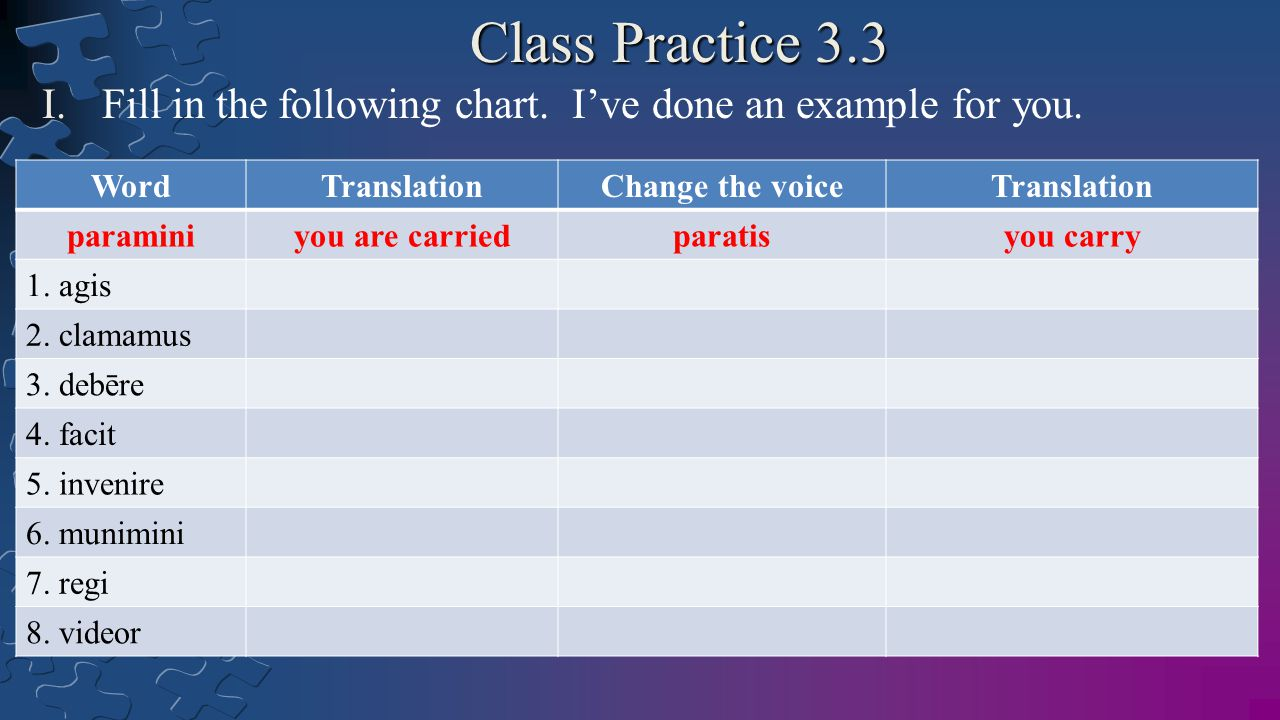 Class Practice 3.3 I.Fill in the following chart. I've done an example for you.