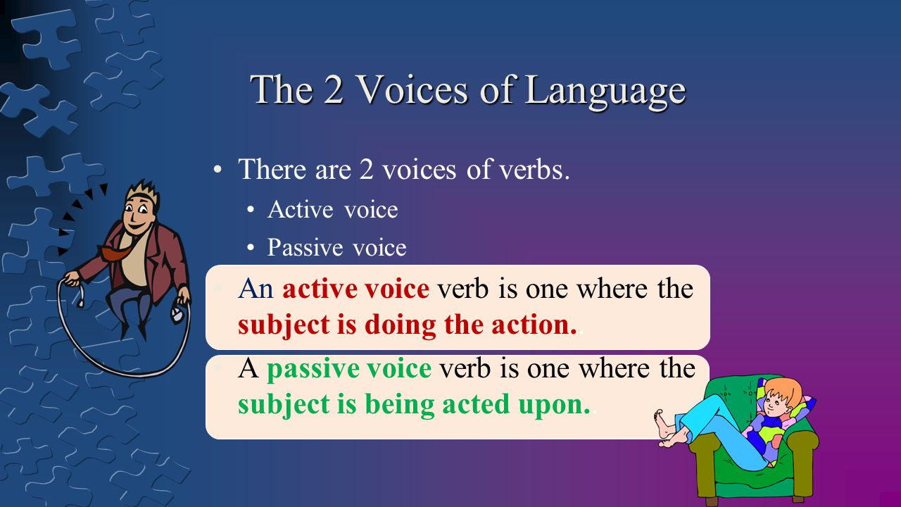 The 2 Voices of Language There are 2 voices of verbs.