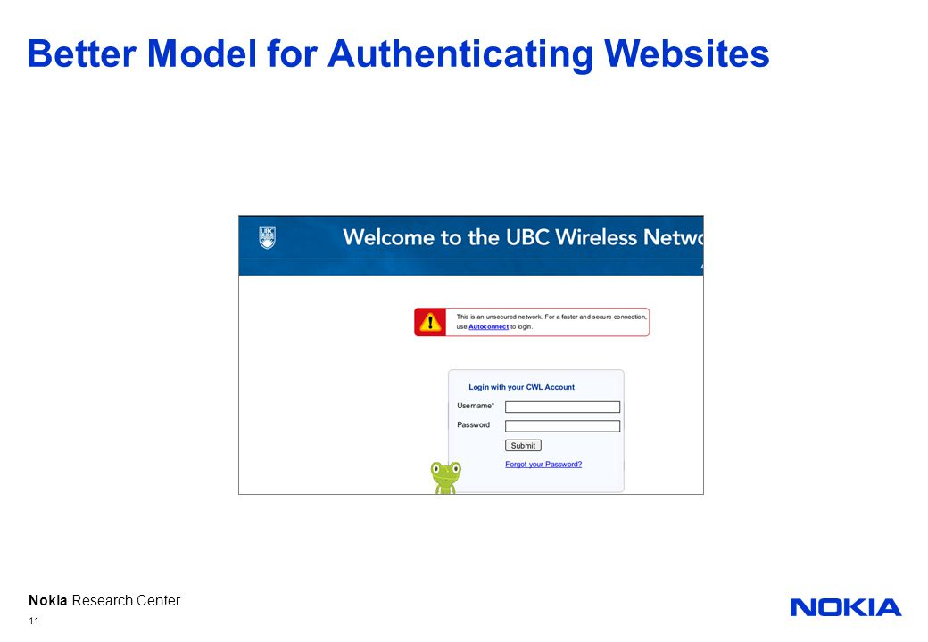 Nokia Research Center Better Model for Authenticating Websites 11