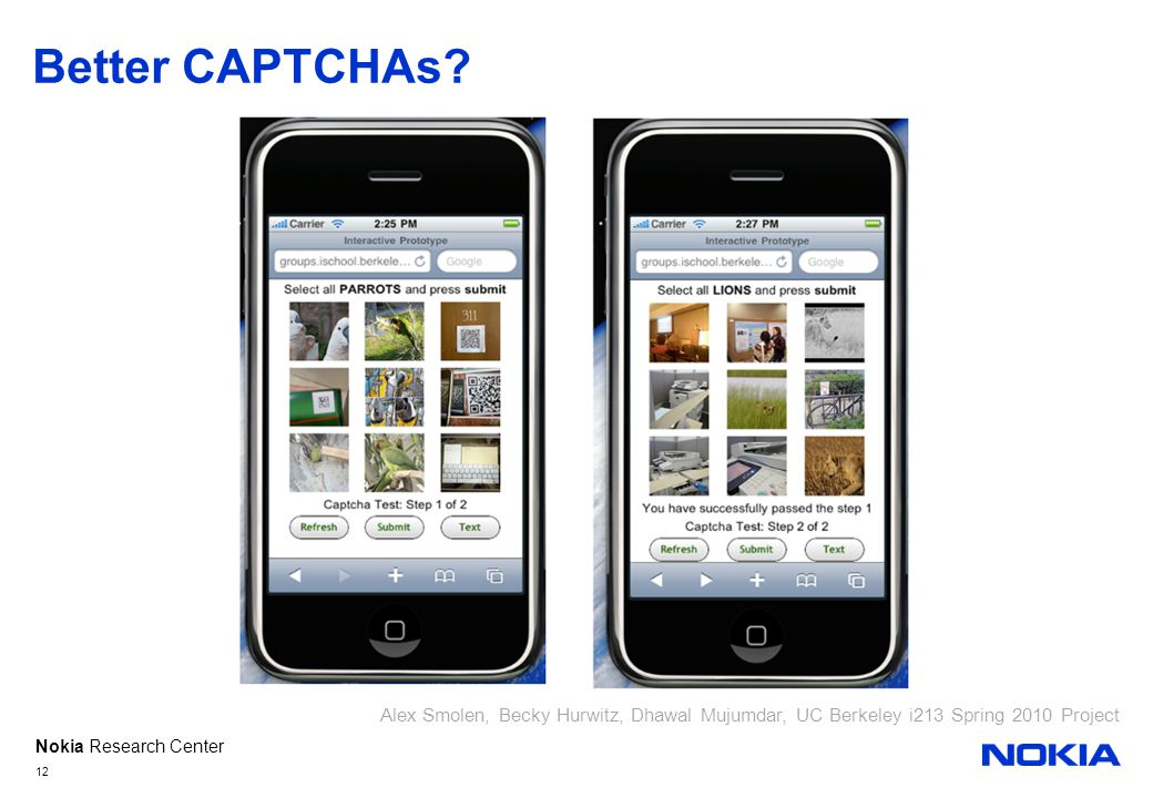 Nokia Research Center Better CAPTCHAs.