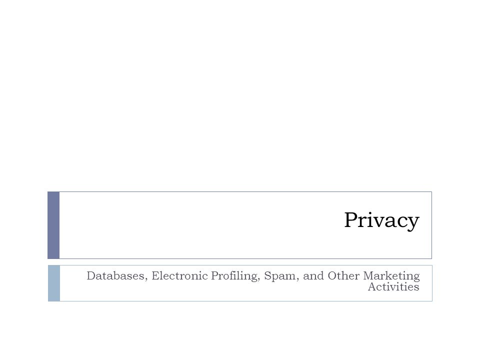Privacy Databases, Electronic Profiling, Spam, and Other Marketing Activities