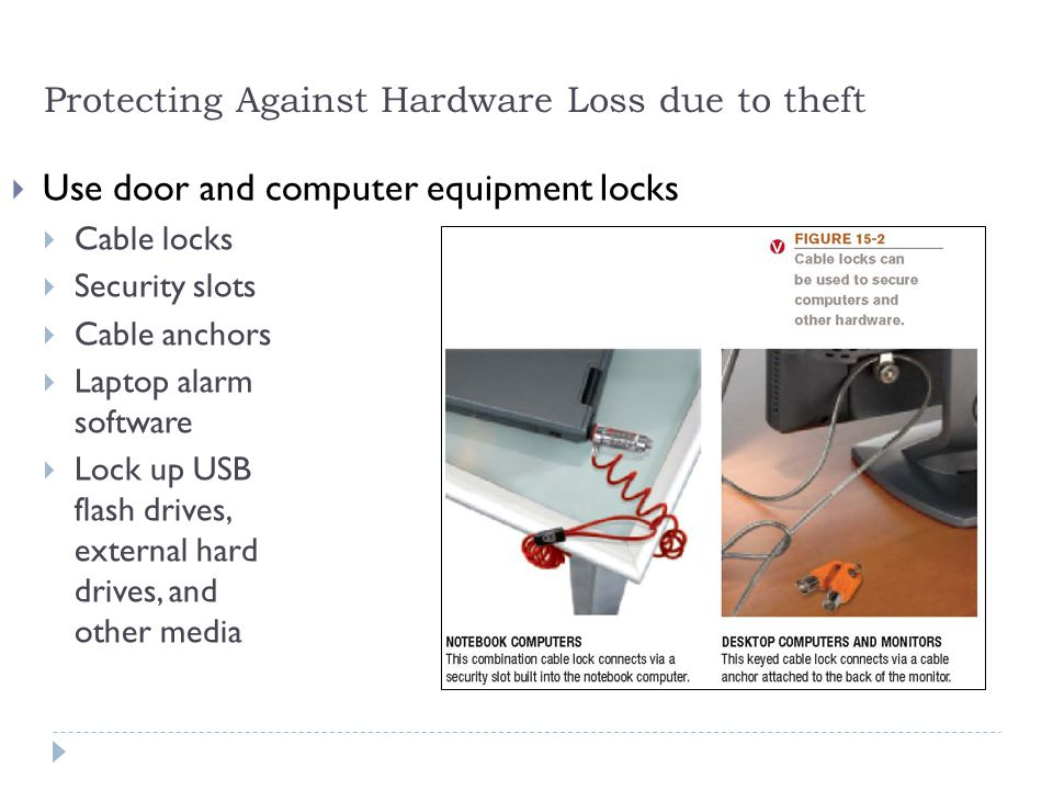 6 Protecting Against Hardware Loss due to theft  Use door and computer equipment locks  Cable locks  Security slots  Cable anchors  Laptop alarm software  Lock up USB flash drives, external hard drives, and other media