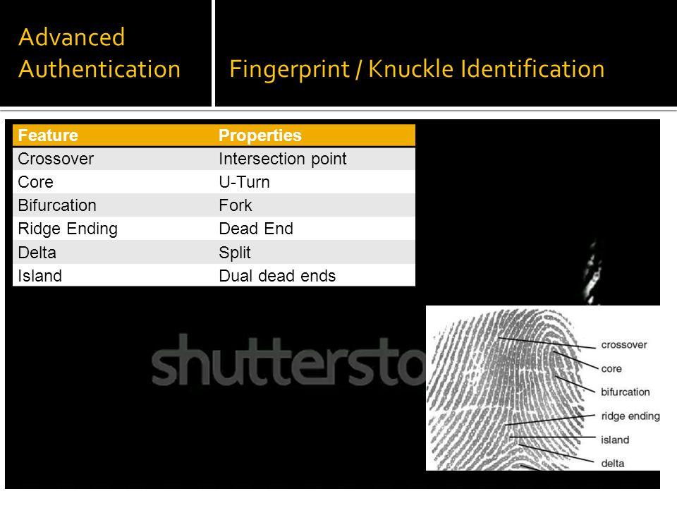 FeatureProperties CrossoverIntersection point CoreU-Turn BifurcationFork Ridge EndingDead End DeltaSplit IslandDual dead ends Advanced AuthenticationFingerprint / Knuckle Identification