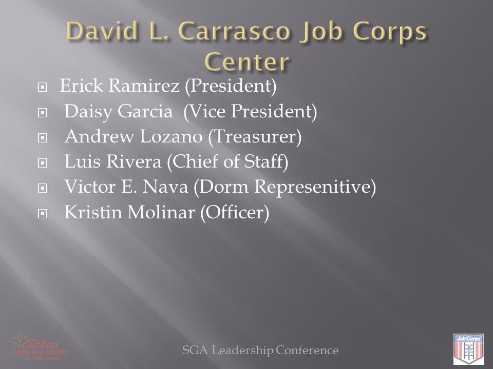  Erick Ramirez (President)  Daisy Garcia (Vice President)  Andrew Lozano (Treasurer)  Luis Rivera (Chief of Staff)  Victor E.