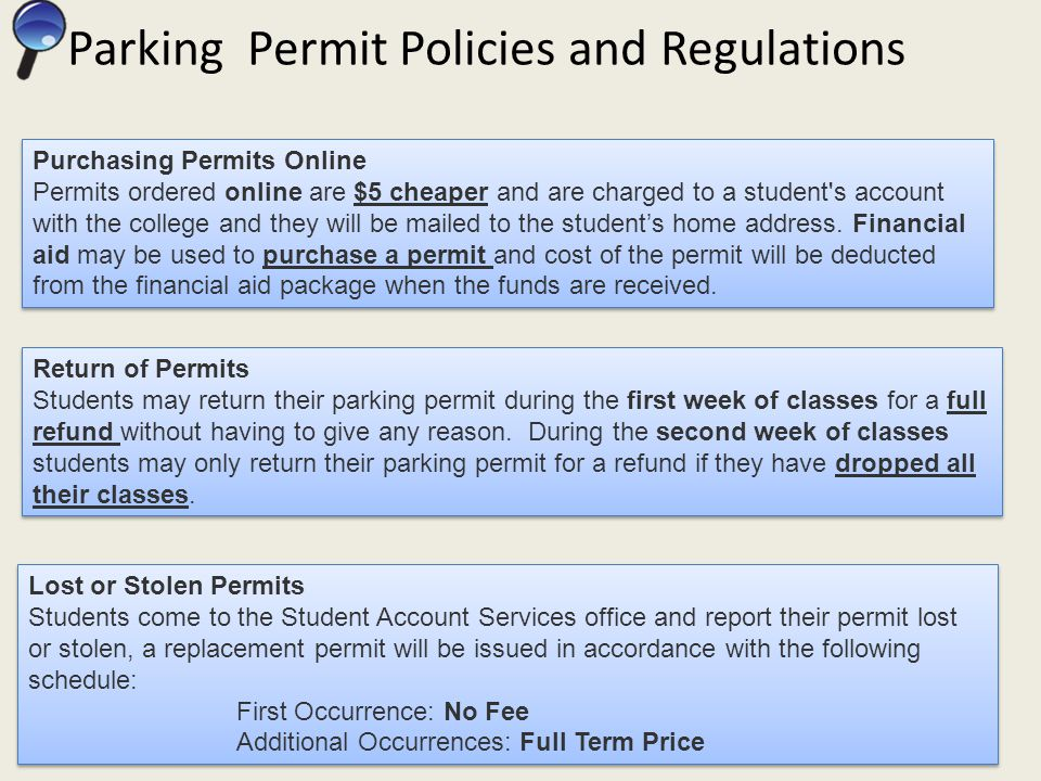 Selecting Permit Type Once Submit Permit Request is selected it will be mailed to Students Mailing Address on file for PCC.