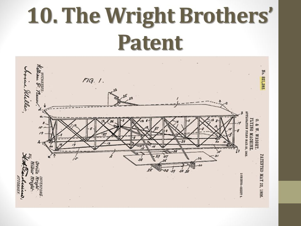 10. The Wright Brothers' Patent