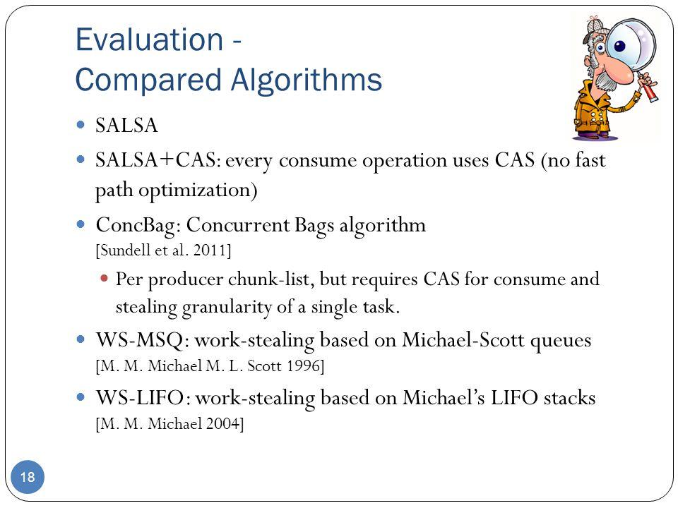 Evaluation - Compared Algorithms 18 SALSA SALSA+CAS: every consume operation uses CAS (no fast path optimization) ConcBag: Concurrent Bags algorithm [