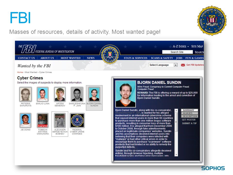 FBI Masses of resources, details of activity. Most wanted page!