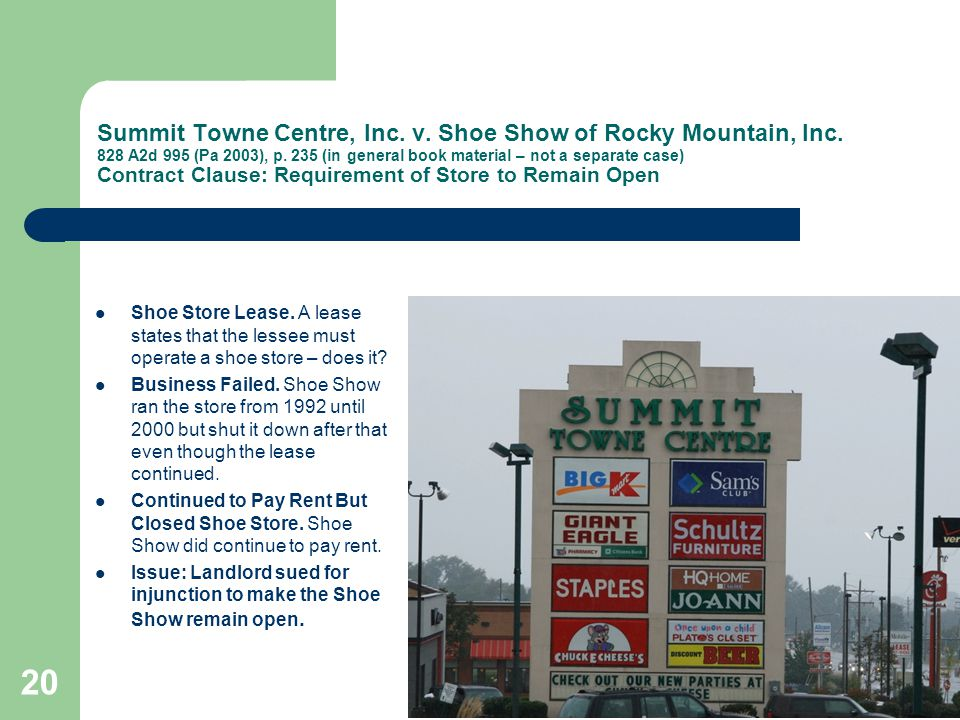 Summit Towne Centre, Inc. v. Shoe Show of Rocky Mountain, Inc.