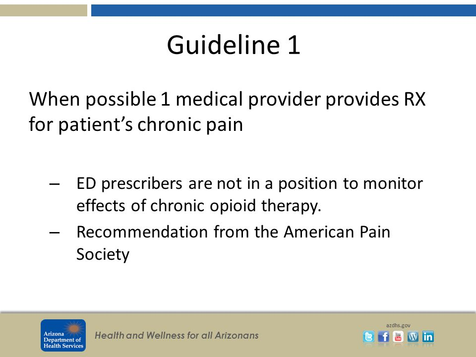 Health and Wellness for all Arizonans azdhs.gov Guideline 1 When possible 1 medical provider provides RX for patient's chronic pain – ED prescribers are not in a position to monitor effects of chronic opioid therapy.