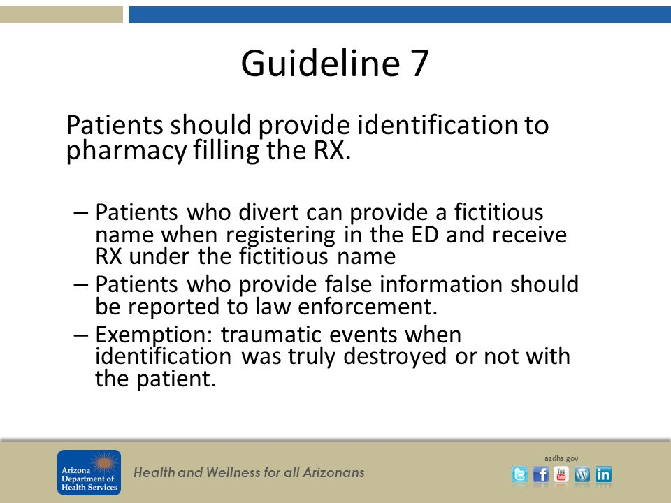 Health and Wellness for all Arizonans azdhs.gov Guideline 7 Patients should provide identification to pharmacy filling the RX.