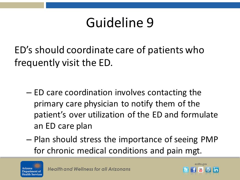 Health and Wellness for all Arizonans azdhs.gov Guideline 9 ED's should coordinate care of patients who frequently visit the ED.