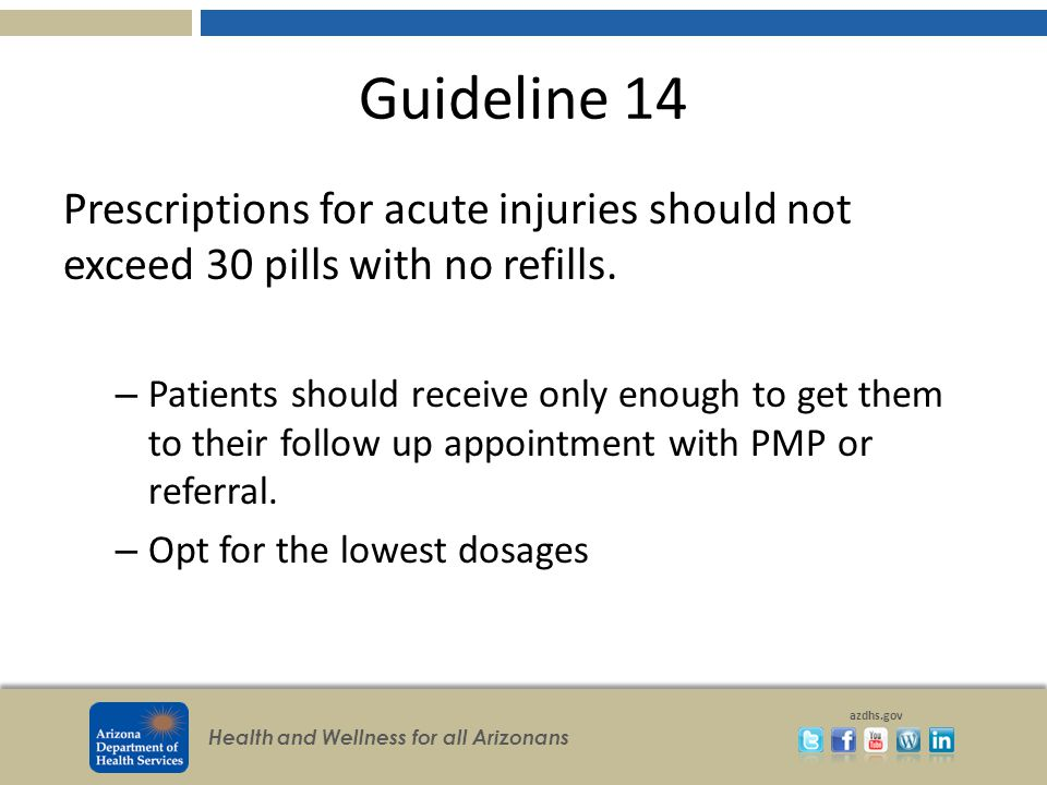 Health and Wellness for all Arizonans azdhs.gov Guideline 14 Prescriptions for acute injuries should not exceed 30 pills with no refills.