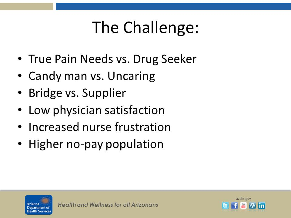 Health and Wellness for all Arizonans azdhs.gov The Challenge: True Pain Needs vs.