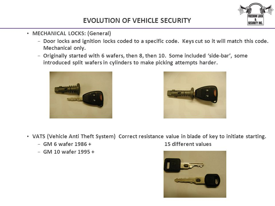 EVOLUTION OF VEHICLE SECURITY MECHANICAL LOCKS: (General) − Door locks and ignition locks coded to a specific code. Keys cut so it will match this cod