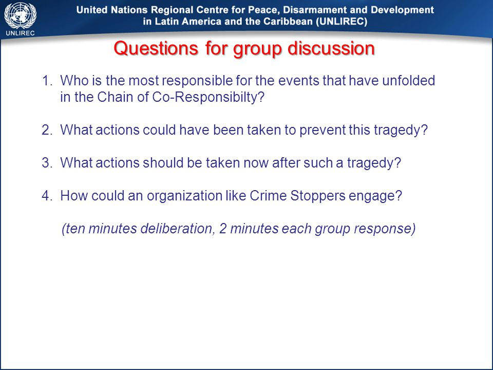 Questions for group discussion 1.Who is the most responsible for the events that have unfolded in the Chain of Co-Responsibilty.