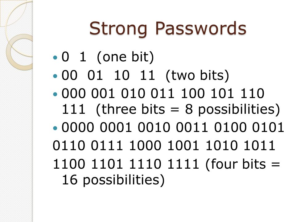 Strong Passwords 0 1 (one bit) 00 01 10 11 (two bits) 000 001 010 011 100 101 110 111 (three bits = 8 possibilities) 0000 0001 0010 0011 0100 0101 011