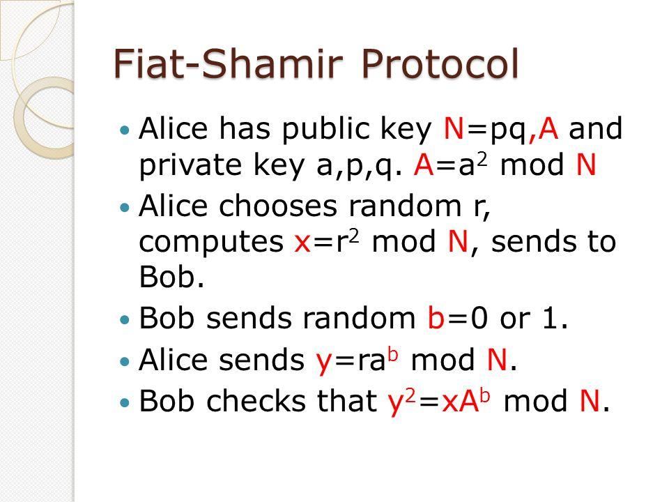Fiat-Shamir Protocol Alice has public key N=pq,A and private key a,p,q. A=a 2 mod N Alice chooses random r, computes x=r 2 mod N, sends to Bob. Bob se