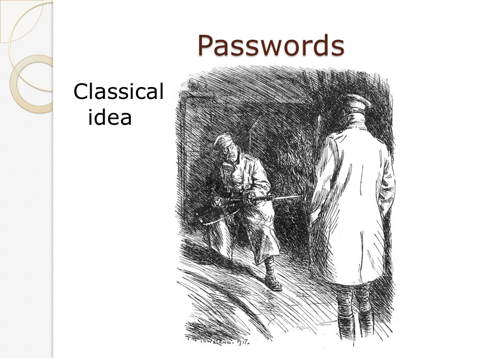 Passwords Classical idea.User enters ID and password.