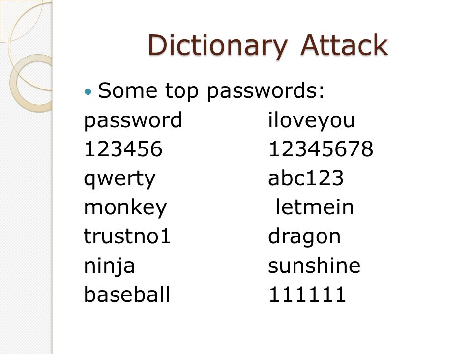 Dictionary Attack Some top passwords: passwordiloveyou 12345612345678 qwertyabc123 monkey letmein trustno1dragon ninjasunshine baseball111111