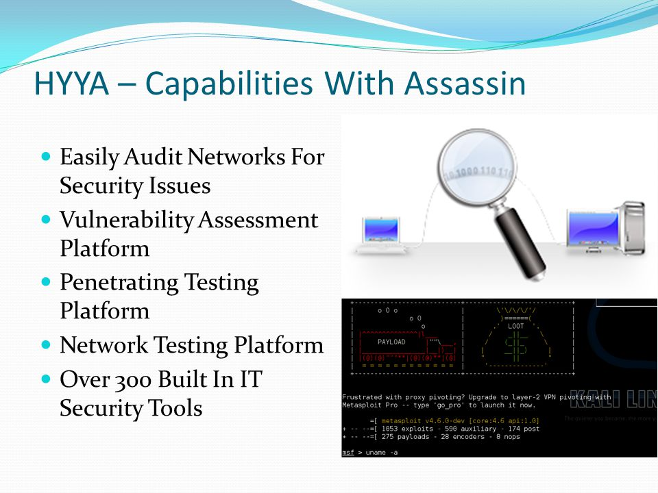HYYA – Capabilities With Assassin Easily Audit Networks For Security Issues Vulnerability Assessment Platform Penetrating Testing Platform Network Testing Platform Over 300 Built In IT Security Tools