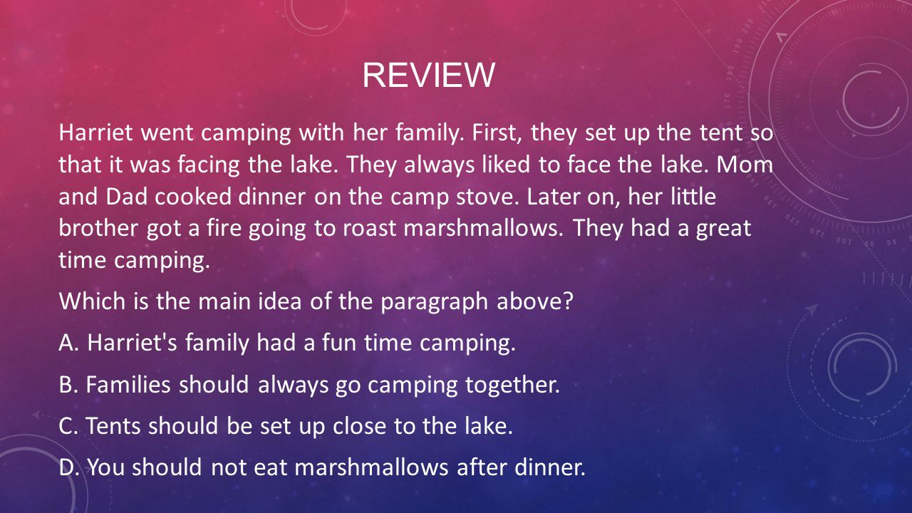 REVIEW Harriet went camping with her family. First, they set up the tent so that it was facing the lake. They always liked to face the lake. Mom and D