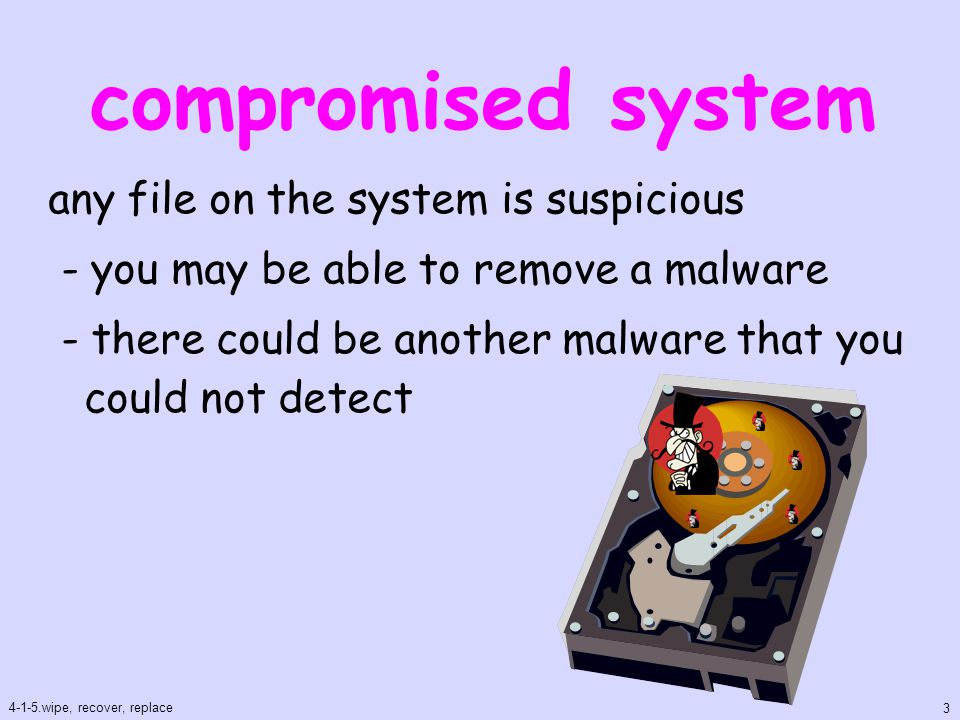 wipe don't use files in the compromised system - programs, documents, images clean up the storage in the system - HDD, SSD, flash memory 4-1-5.wipe, recover, replace 4