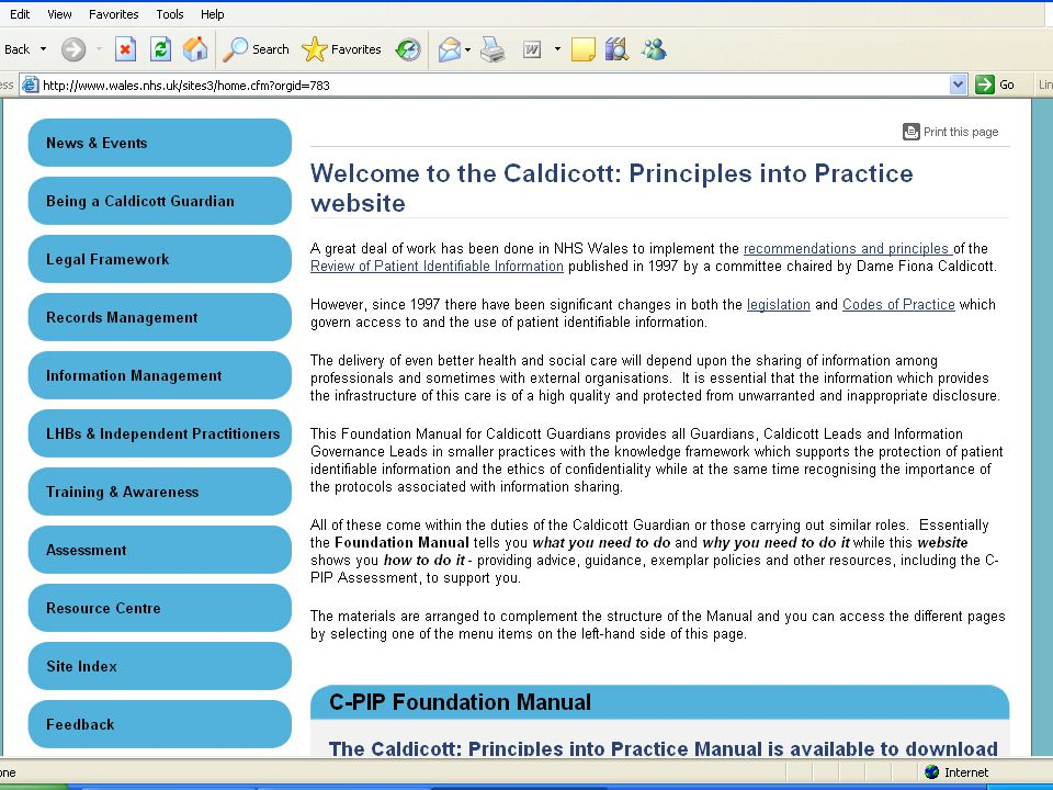 Revised Caldicott Manual- Practice Managers Groups