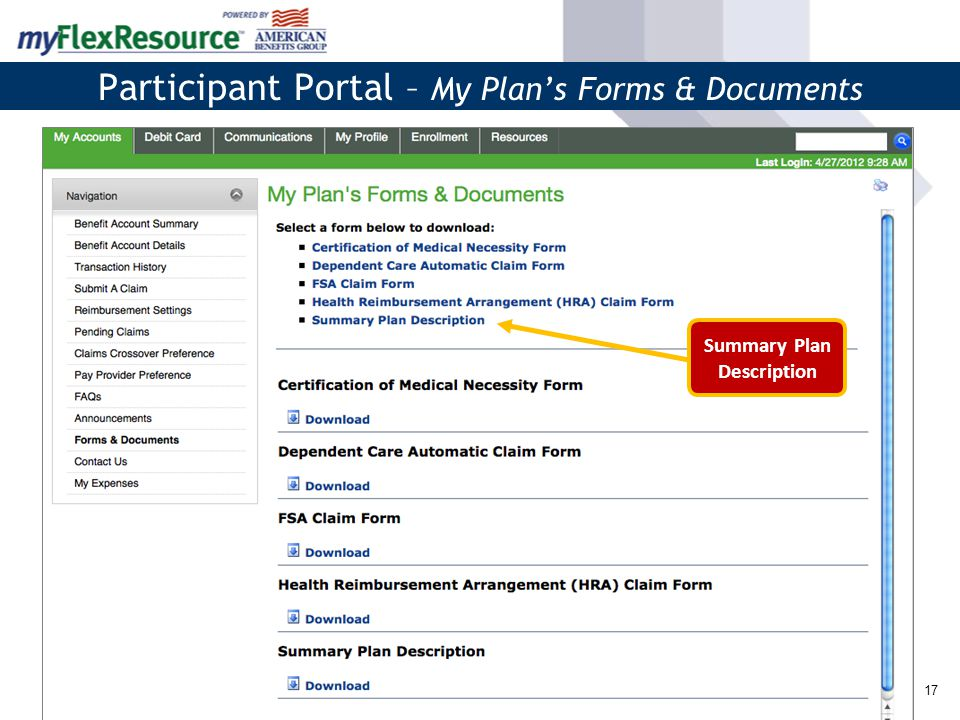 17 Participant Portal – My Plan's Forms & Documents Summary Plan Description
