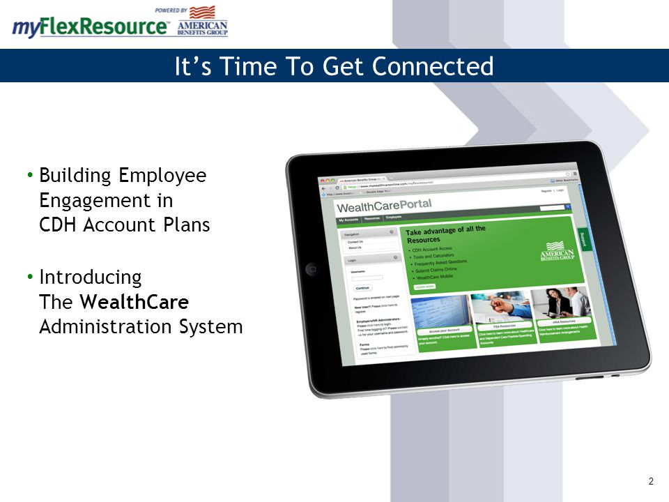 2 It's Time To Get Connected Building Employee Engagement in CDH Account Plans Introducing The WealthCare Administration System