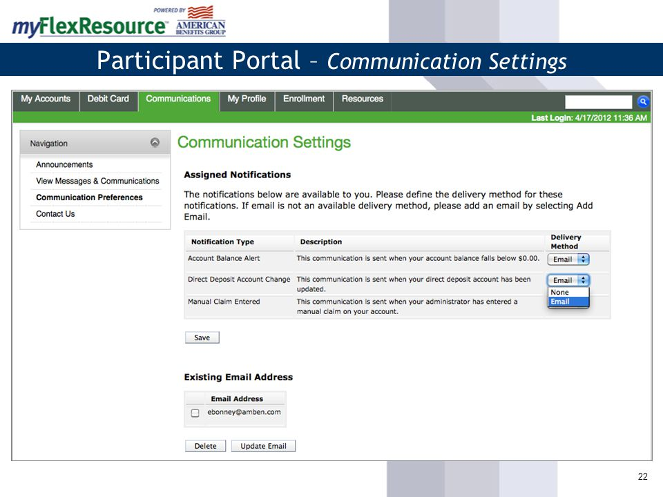 22 Participant Portal – Communication Settings