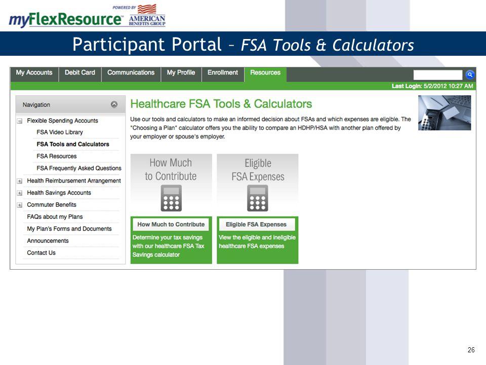 27 Participant Portal – FSA Forms and Online Resources