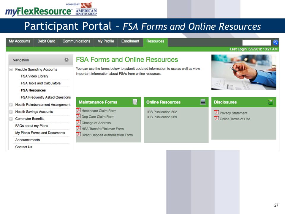 27 Participant Portal – FSA Forms and Online Resources