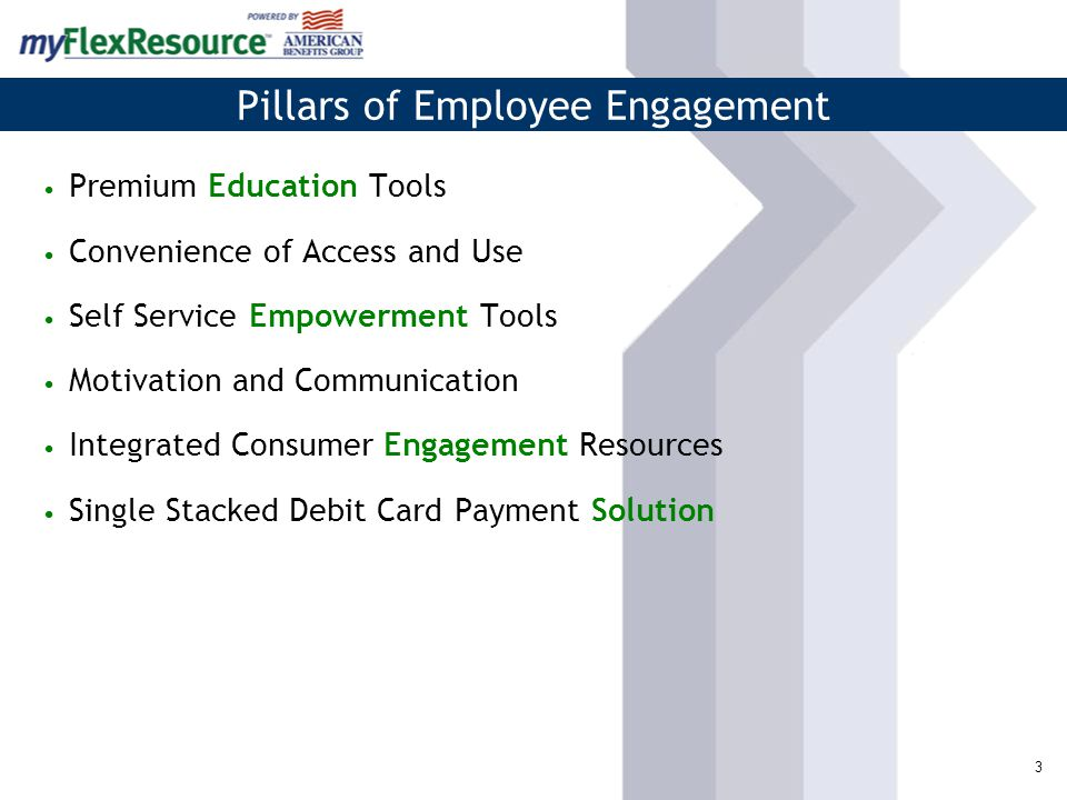 Pillars of Employee Engagement 3 Premium Education Tools Convenience of Access and Use Self Service Empowerment Tools Motivation and Communication Integrated Consumer Engagement Resources Single Stacked Debit Card Payment Solution