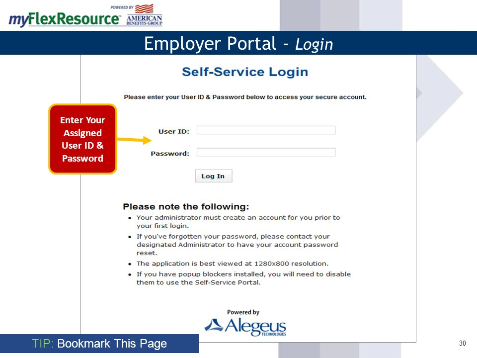 30 TIP: Bookmark This Page Employer Portal - Login Enter Your Assigned User ID & Password
