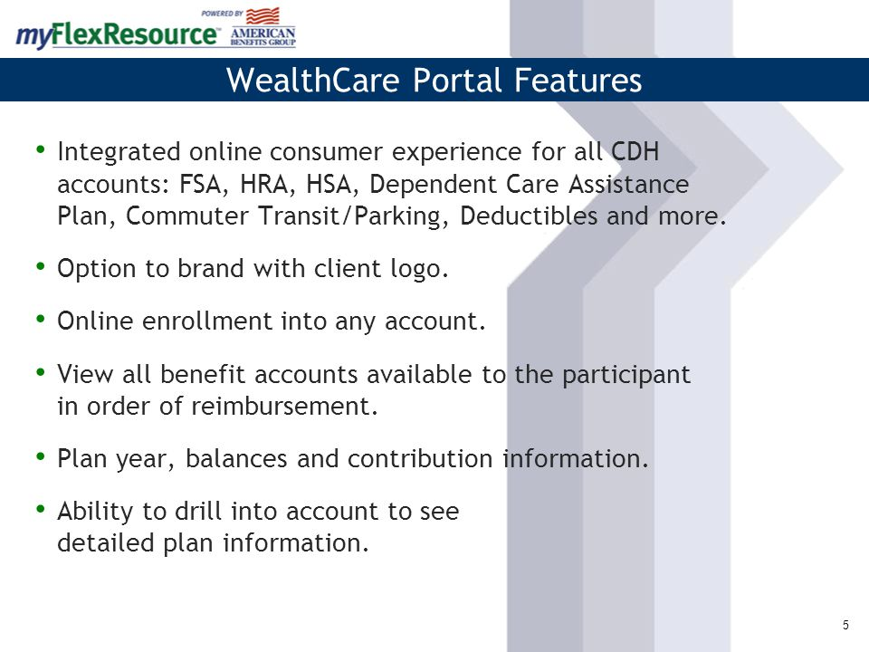 5 Integrated online consumer experience for all CDH accounts: FSA, HRA, HSA, Dependent Care Assistance Plan, Commuter Transit/Parking, Deductibles and more.