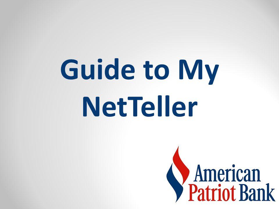Guide to My NetTeller