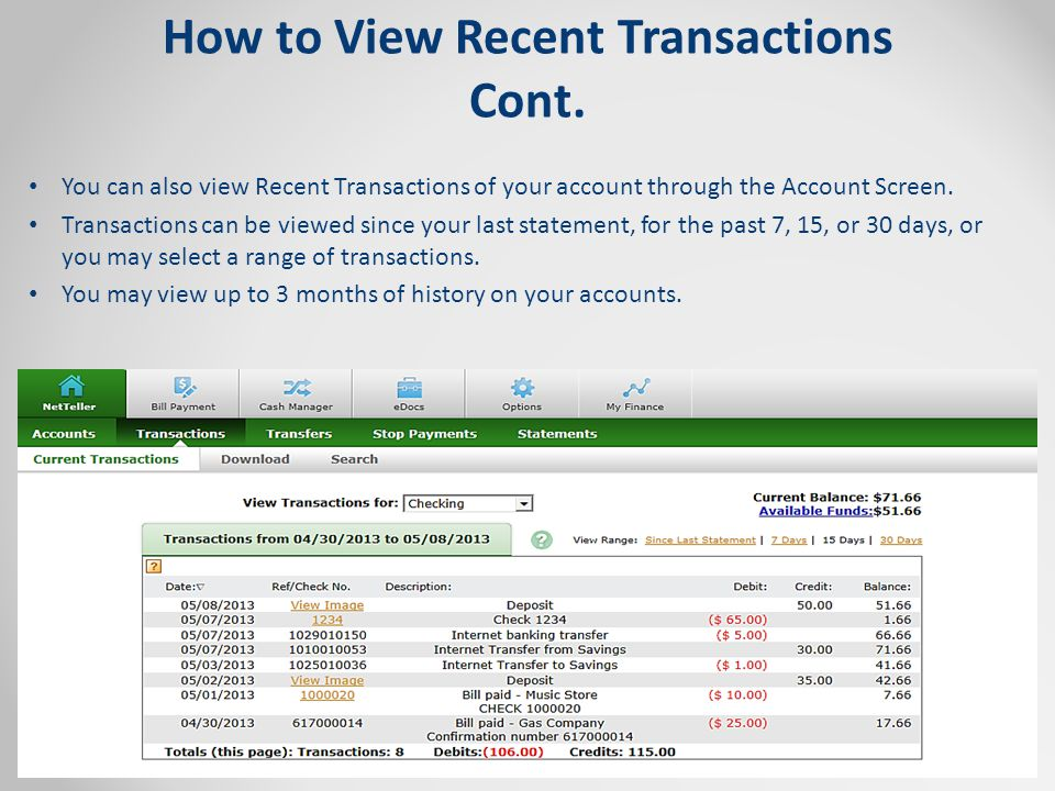 How to View Recent Transactions Cont.
