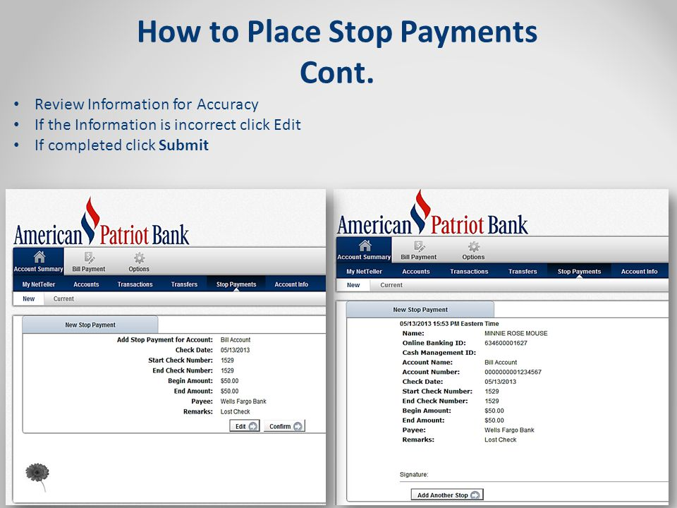 How to Place Stop Payments Cont.