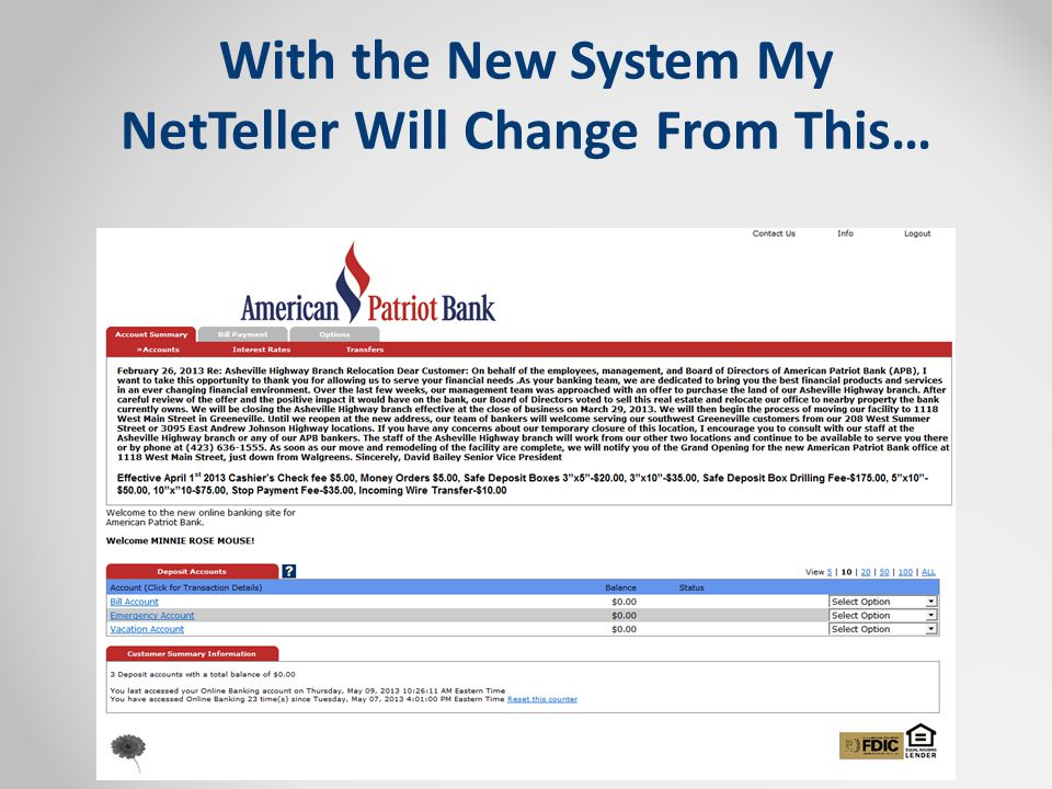With the New System My NetTeller Will Change From This…