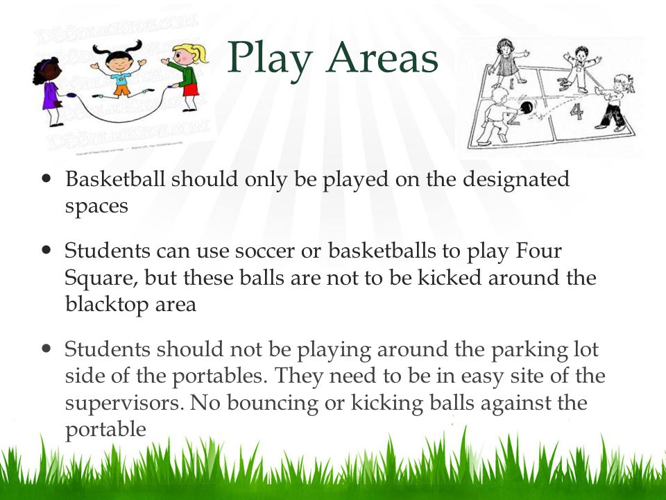 Play Areas Basketball should only be played on the designated spaces Students can use soccer or basketballs to play Four Square, but these balls are not to be kicked around the blacktop area Students should not be playing around the parking lot side of the portables.