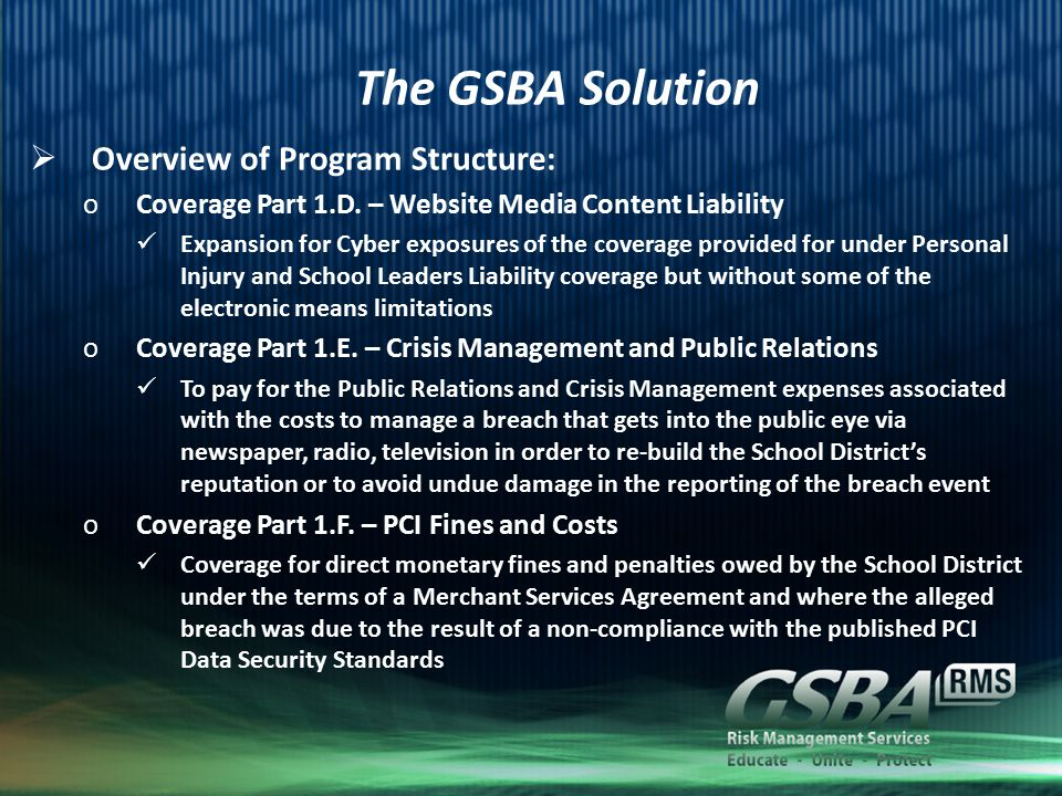 The GSBA Solution  Overview of Program Structure: oCoverage Part 1.D.