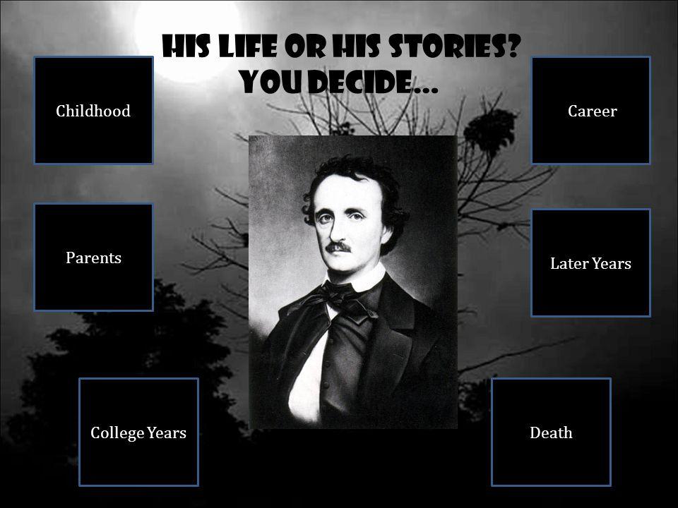 Childhood… Edgar Allan Poe's parents were traveling actors in Boston.