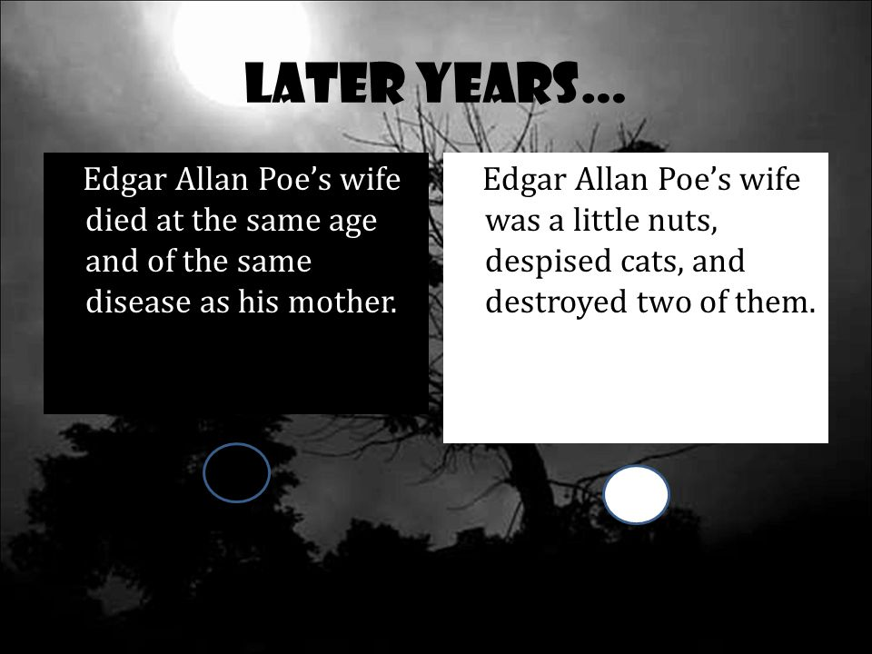 Later Years… Edgar Allan Poe's wife died at the same age and of the same disease as his mother.