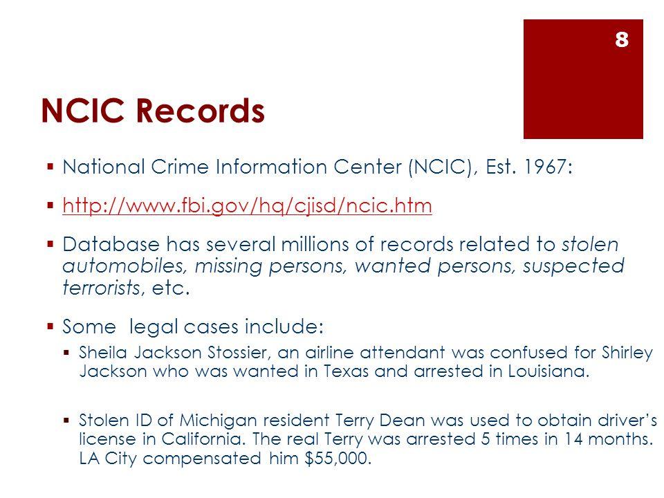 NCIC Records  National Crime Information Center (NCIC), Est.