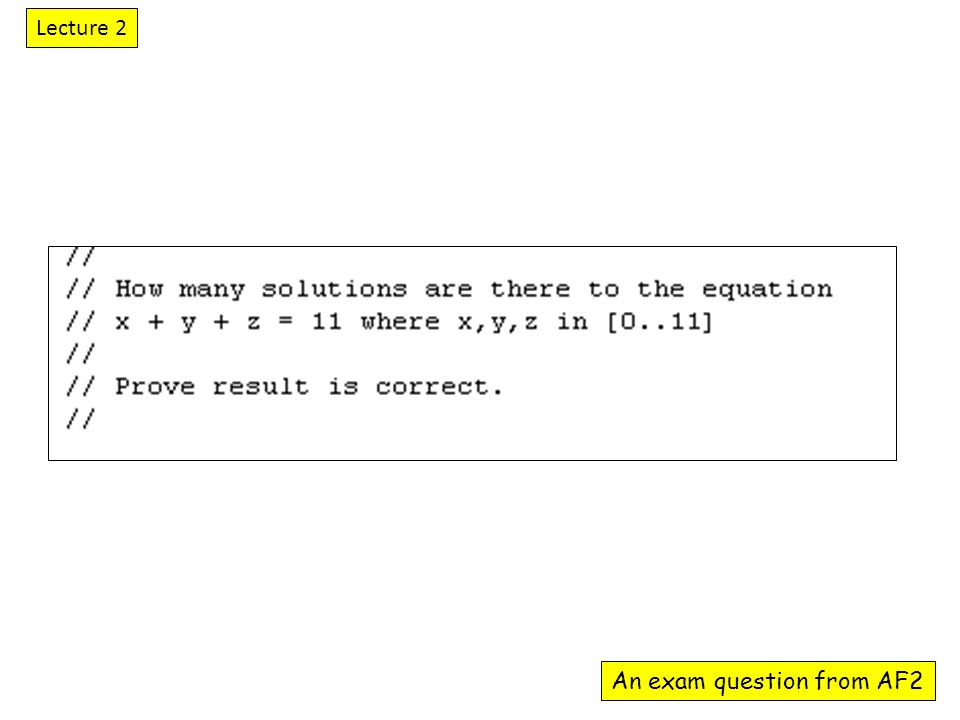 An exam question from AF2 Lecture 2