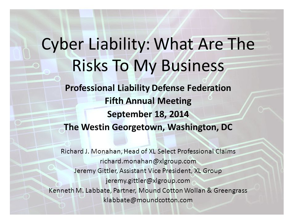 Cyber Liability: What Are The Risks To My Business Professional Liability Defense Federation Fifth Annual Meeting September 18, 2014 The Westin Georgetown, Washington, DC Richard J.